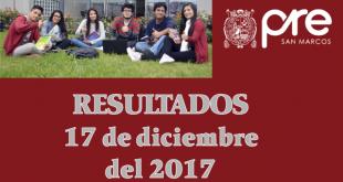 resultados examen pre san marcos 17 de diciembre del 2017