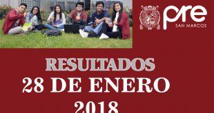 Resultados de Pre San Marcos 28 de enero del 2018