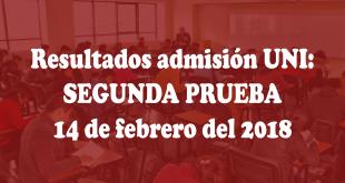 Resultados admisión UNI: Segunda prueba, Matemática 14 de febrero del 2018
