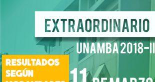Resultados examen según modalidades 2018 I UNAMBA 11 de marzo del 2018
