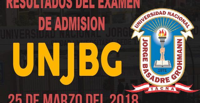 Resultados examen admisión UNJBG 25 de marzo del 2018