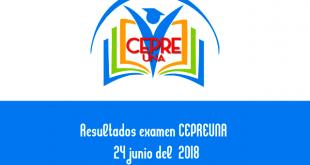 Resultados examen CEPREUNA de 24 junio del 2018