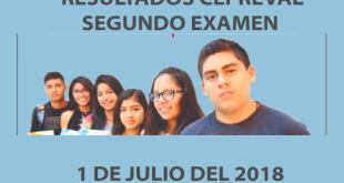 Resultados segundo examen CEPREVAL 1 de julio del 2018