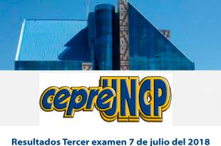 Resultados tercer examen CEPRE UNCP 7 de julio del 2018