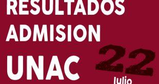 Resultados examen de admision UNAC 22 de julio del 2018