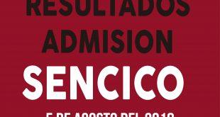 Resultados examen de admisión SENCICO 5 de agosto del 2018
