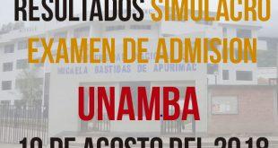 Resultados Simulacro examen de admision UNAMBA 19 de agosto del 2018