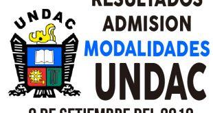 Resultados examen admision UNDAC 9 de setiembre del 2018 modalidades