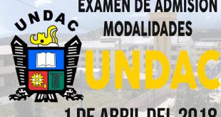 Resultados examen admision UNDAC 1 de abril del 2018 modalidades